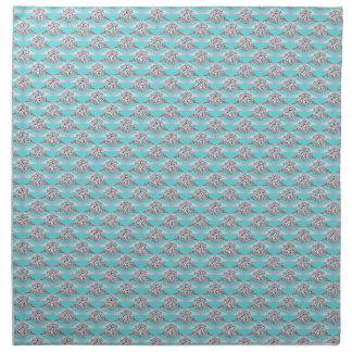 Azul con el anillo de diamante del platino servilletas imprimidas