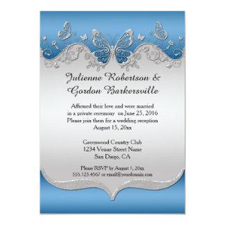 Azul con el boda de plata adornado del poste de invitación 12,7 x 17,8 cm