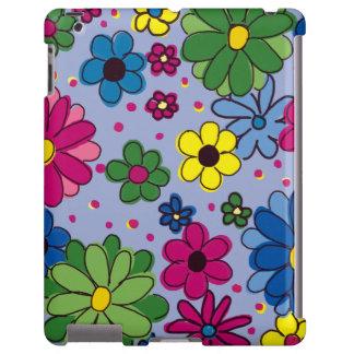 Azul con la caja colorida del iPad de las flores