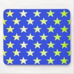 Azul con las estrellas de color verde amarillo tapetes de ratones