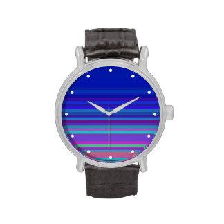 Azul con las rayas relojes de pulsera