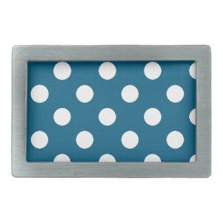 Azul con los lunares blancos hebilla cinturón rectangular