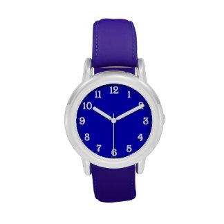 Azul con los números blancos relojes de mano