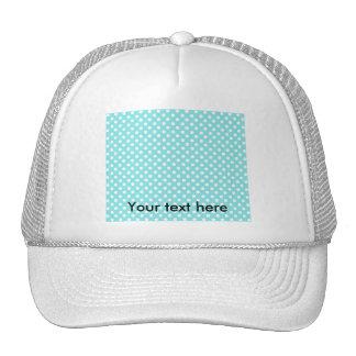 Azul con los polkadots blancos gorras