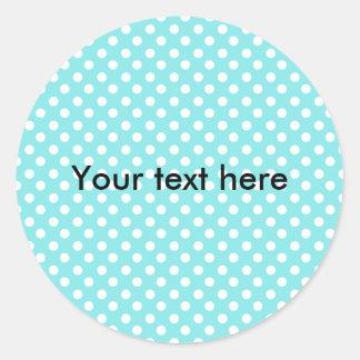 Azul con los polkadots blancos etiqueta redonda