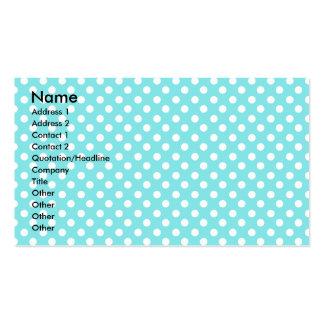 Azul con los polkadots blancos tarjetas de visita