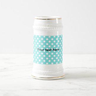 Azul con los polkadots blancos taza de café