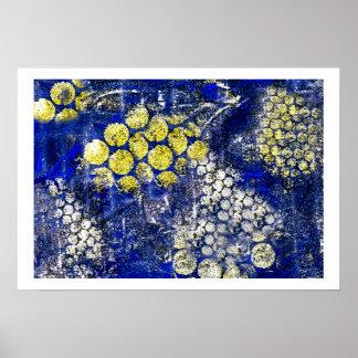 Azul con los puntos amarillos y blancos - en lona poster