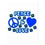 Azul con paz de las flores y diseño del amor postal