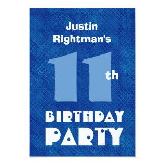 Azul conocido de encargo W701 del 11mo cumpleaños Invitación 12,7 X 17,8 Cm