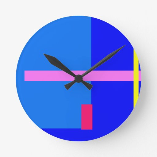Azul contemporáneo reloj redondo mediano
