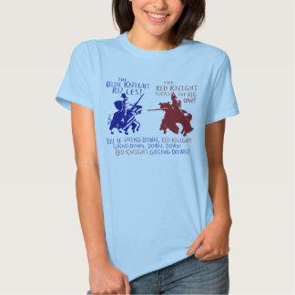 Azul contra caballero rojo playera