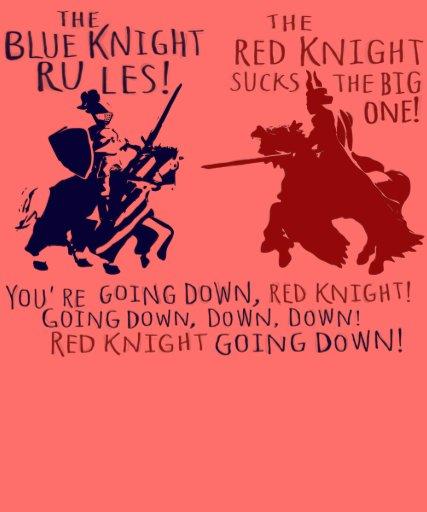 Azul contra caballero rojo camiseta