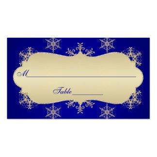 Azul, copos de nieve Placecards de la MIRADA del Tarjetas De Visita