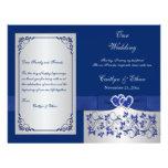 Azul, corazones florales de la plata que casan pro flyer personalizado
