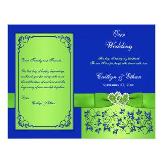 Azul, corazones florales del verde que casan progr tarjetón