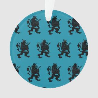 Azul coronado del negro del león