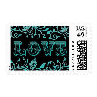 Azul creativo del huevo del petirrojo del amor del timbres postales