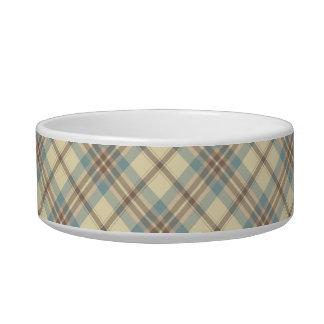 Azul, crema, y tela escocesa de Brown Tazón Para Agua Para Gatos