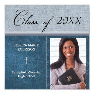 """Azul cristiano de la graduación de la foto de la invitación 5.25"""" x 5.25"""""""