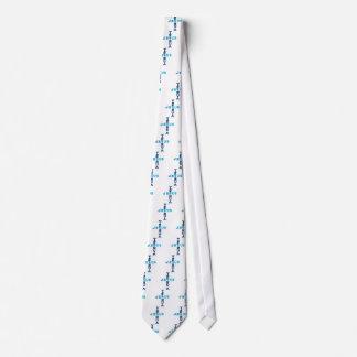 Azul cruzado conocido del Dos-Tono de Yeshua Jesús Corbata Personalizada