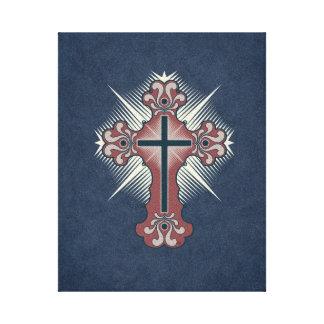 Azul cruzado cristiano y rojo del flourish lona estirada galerias
