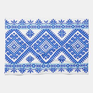 Azul cruzado ucraniano de la impresión de la punta toallas de cocina
