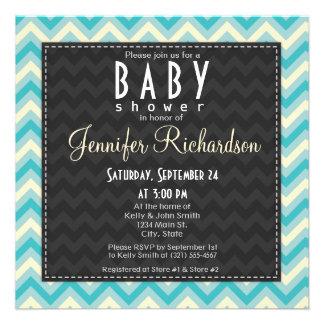 Azul cuadrado lindo, fiesta de bienvenida al bebé  invitacion personalizada
