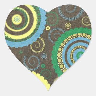 AZUL de 194__retro-circles-paper-pattern BROWN Pegatina En Forma De Corazón