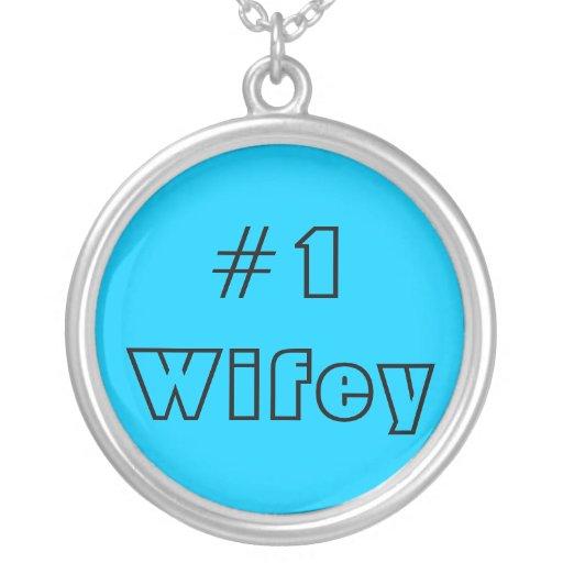 Azul de #1 Wifey Colgante Redondo