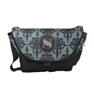 Azul de acero del negro del monograma del damasco bolsas de mensajería