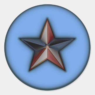 Azul de Astra Metallica Pegatina Redonda