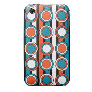 Azul de Bondi, rayas blancas negras del círculo de iPhone 3 Carcasas
