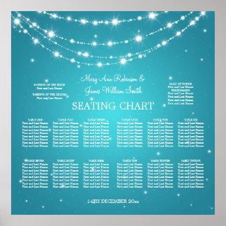 Azul de cadena chispeante de la carta del asiento posters