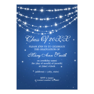 Azul de cadena chispeante de la fiesta de graduaci invitación personalizada