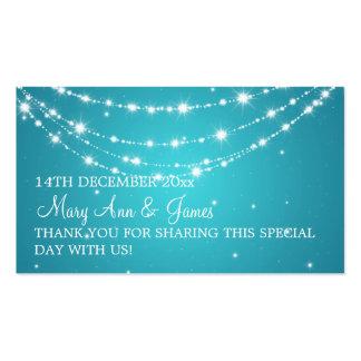 Azul de cadena chispeante del boda de la etiqueta tarjetas de visita