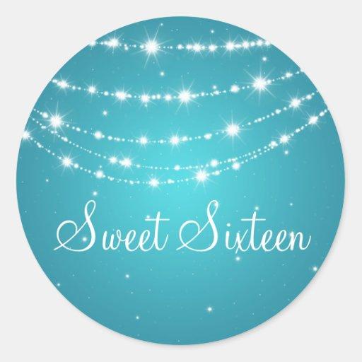 Azul de cadena chispeante del dulce dieciséis etiquetas redondas