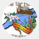 Azul de Carolina del Norte el estado BirdFlower Etiquetas Redondas