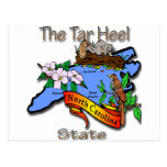 Azul de Carolina del Norte el estado BirdFlower Postal