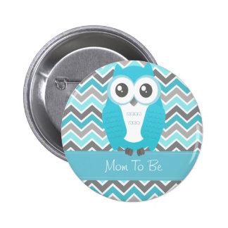 Azul de Chevron del botón de la fiesta de bienveni Pin Redondo De 2 Pulgadas