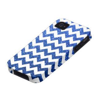 Azul de Chevron del brillo Case-Mate iPhone 4 Funda