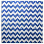 Azul de Chevron del brillo Servilletas Imprimidas