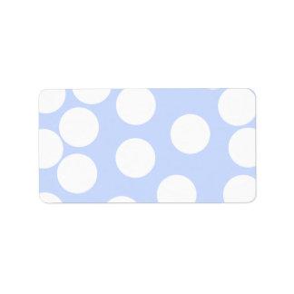 Azul de cielo con los puntos blancos grandes etiquetas de dirección