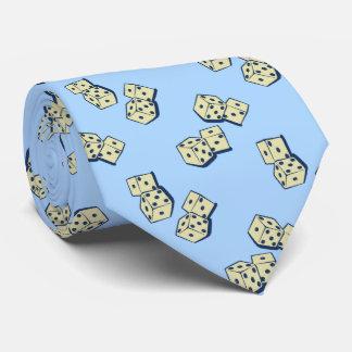 Azul de cielo de juego de los dados que cae corbatas