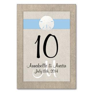 Azul de cielo de la tarjeta de la tabla del boda d