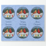Azul de cielo de las luces de los cardenales y de papel de regalo