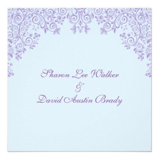 Azul de cielo del encantamiento y boda profundo de invitacion personalizada