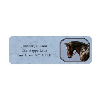 Azul de cielo inglés del caballo de montar a etiqueta de remite