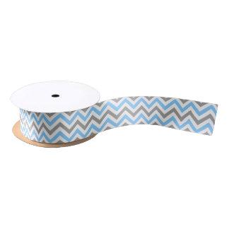 Azul de cielo, modelo de zigzag grande blanco gris lazo de raso