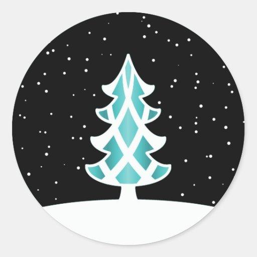 Azul de cielo Nevado de las cintas del árbol de Etiquetas Redondas